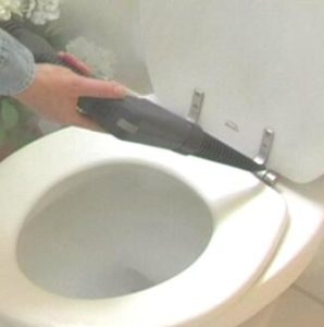 use steamer to clean toilet