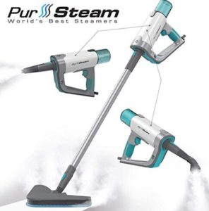 PurSteam steam mop with detachable handheld steamer for garment and furniture
