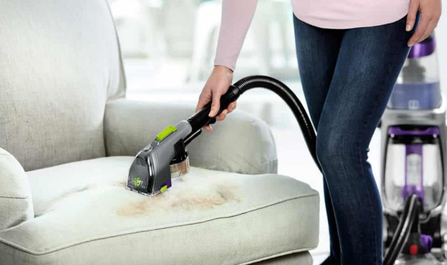 clean tea stains on sofa with steam cleaner
