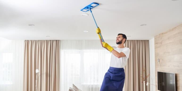 clean dust from popcorn ceiling